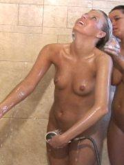 Screencaps of Angel Woods taking a shower with her friend