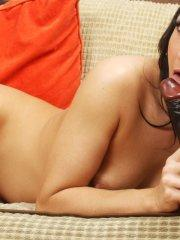 Pictures of Chloe Lovette playing with her big black dildo