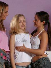 Pictures of horny teen girls groping each other