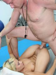 Blonde schoolgirl Madison Ivy fucks her gym teacher for better grades