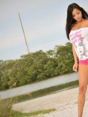 Pictures of Janessa Brazil stripping outside