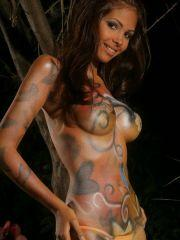 Karla Spice covered in only body paint