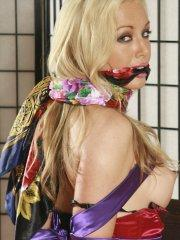 Pictures of Kayden Kross tied up and gagged for your pleasure