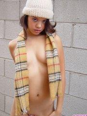 Pictures of teen cutie Kona Kalani trying to stay warm on a cold day