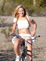 Pics of Lia 19 showing her pussy while on a bike ride