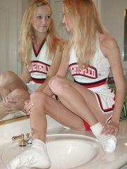 Pictures of Lightspeed University cheerleader Dirty Aly getting herself all wet