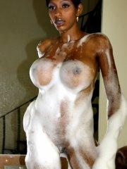 Pictures of Lil Chica getting all soapy and wet