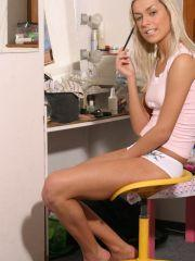 Pics of Mandy Lightspeed inviting you into the makeup room