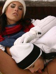 Pictures of Mili Jay staying warm on her ski trip