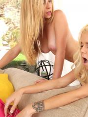 Busty blonde Taylor Whyte coaches newbie Halle Von on the casting couch