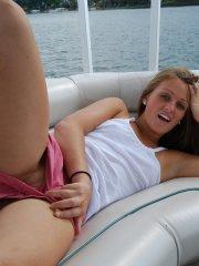 Pictures of Piper Fox flashing her pussy on a boat