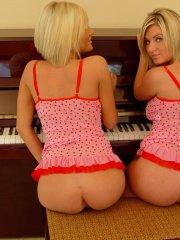 Pictures of teen babe Princess Cameron getting a hot piano lesson with her girlf