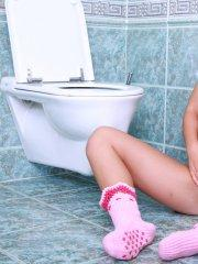 Pictures of teen Sabrina Blond being naughty in a bathroom