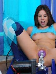 Pictures of teen nympho Shyla Jennings fucking a machine