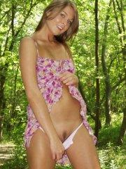 Pictures of teen Sweet Adri getting all naked outside