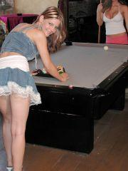 Pics of Taylor Little playing a sexy game of pool with Raimi
