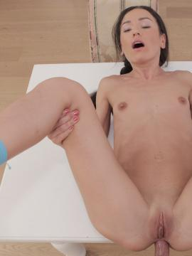 Brunette girl Nataly Gold gets her tight ass fucked