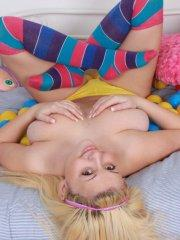 Pictures of teen girl Tegan Brady teasing in striped socks