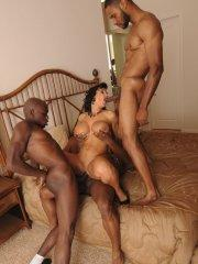Pictures of Lisa Ann being banged hard by a black gang